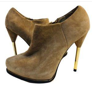 Zara Beige Suede Zipper Detail Booties Gold Heel 7